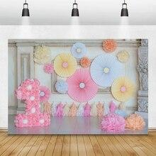 Laeaccoシックな壁柱紙花傘1st誕生日シーン写真のための写真の背景写真スタジオの小道具