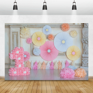 Image 1 - Laeacco Chic Wall Pillar Paper Flowers Umbrella 1st Birthday Scene Photography Backdrops Photo Backgrounds For Photo Studio Prop
