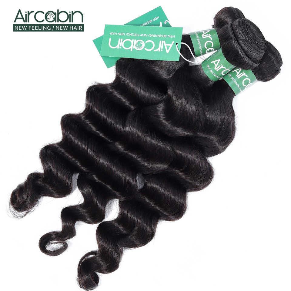 Aircabin luźne głęboka fala brazylijskie doczepy do włosów wyplata 100% wiązki Remy ludzki włos 1/3/4 wiązki włosy w naturalnym kolorze rozszerzenia