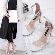 Liren 2019 Summer Fashion Elegant Lady Sandals PU Transparent Buckle Metal Decoration Round Open Toe Women Shoes