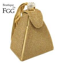 Boutique De FGGพราวแฟชั่นพีระมิดคริสตัลคลัทช์กระเป๋าผู้หญิง 2020 ออกแบบงานแต่งงานตอนเย็นกระเป๋าสตางค์กระเป๋าถือ