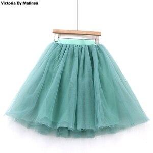 Image 5 - Falda de tul azul personalizada para Mujer, falda plisada Vintage, Midi, blanca, de Lolita, de jupe Secret