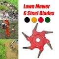 6 зуб садовая газонокосилка лезвие марганцевой стали триммер для травы щетка режущая головка