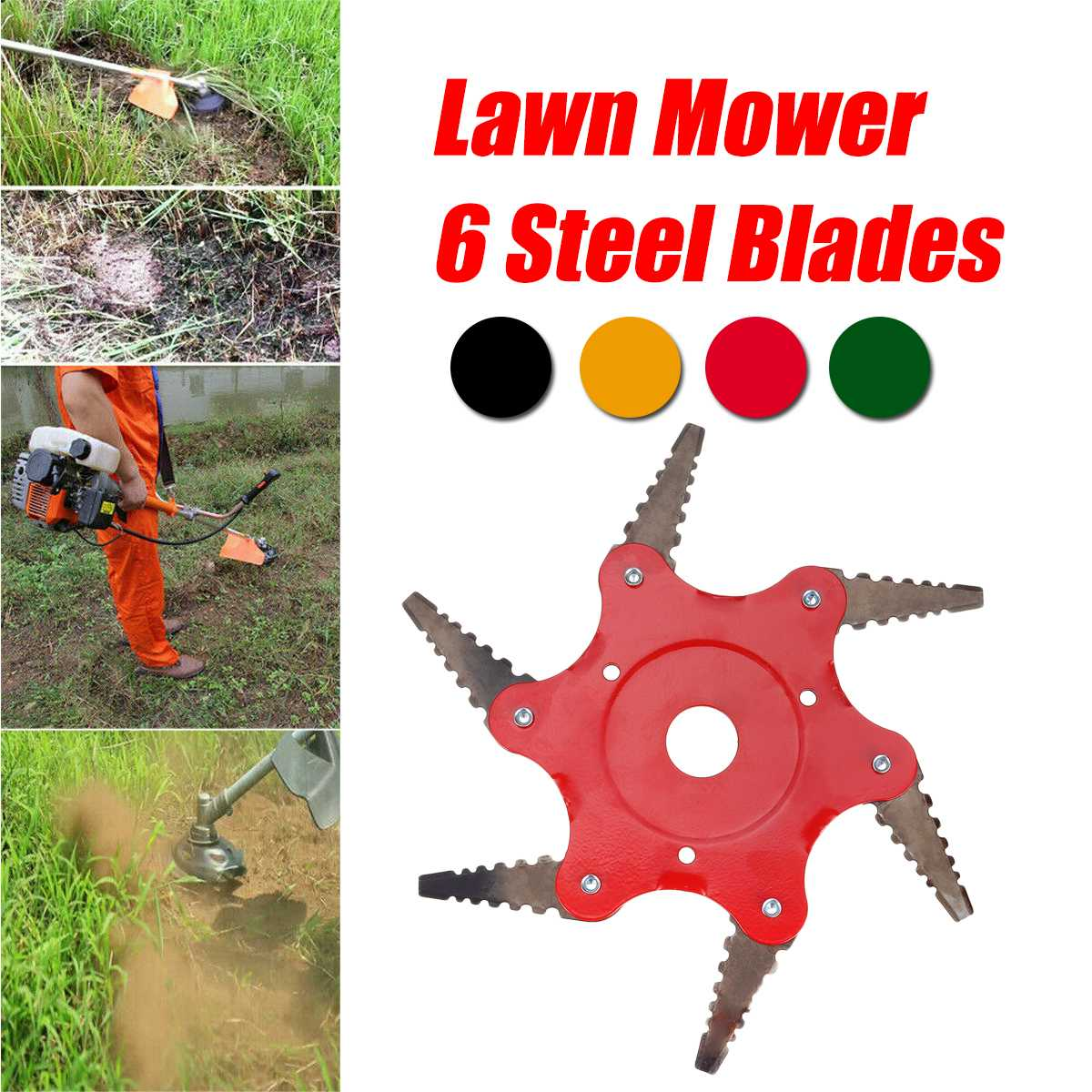 6 Tooth Garden Lawn Mower Blade Manganese Steel Grass Trimmer Brush Cutter Head