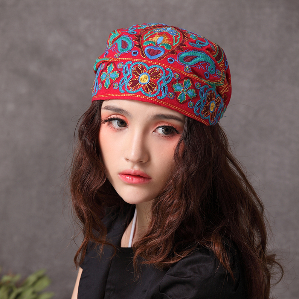 Women Mexican Style Ethnic Vintage Embroidery Flowers Bandanas Red Print Hat Winter Hats For Women