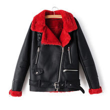 New Arrival Winter Fleece Faux Leather Jackets 2019 Fashion Motorcycle Women Red Thick Warm Suede Jacket Female Flocking Coats(China)