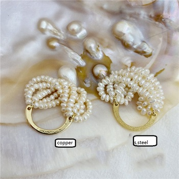 Multilayered real pearl ring for women handmade braided weaved Baroque rice pearl entwine ring luxury hyperbole image