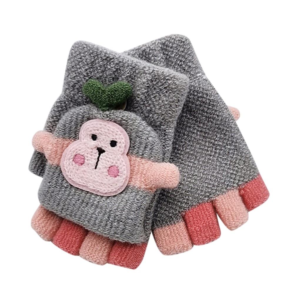 Для малышей, детей, Зимняя Теплая Вязаная безрукавка без пальцев, перчатки-трансформер, удобные перчатки для маленьких мальчиков и девочек - Цвет: Серый