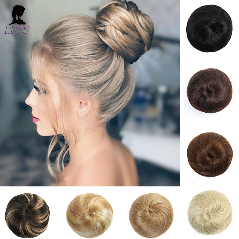LUPU Synthetic Chignon Scrunchie Hair Bun Clip In Hair Extensions Hairpieces With Drawstring High Temperture Fiber For Women