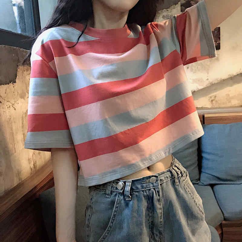 2020 Mới Áo Nữ Rainbow Sọc Áo Bông Tai Kẹp Áo Thun Nữ Mùa Hè Ngắn Hàn Quốc Punk Áo Thun Bonjean