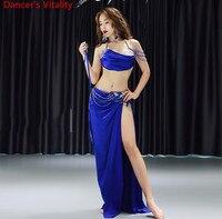 Women Belly Dance Performance Costume Autumn Winter Glitter Diamond Bra Sexy Split Long Skirt Oriental Indian Dancing Stage Wear