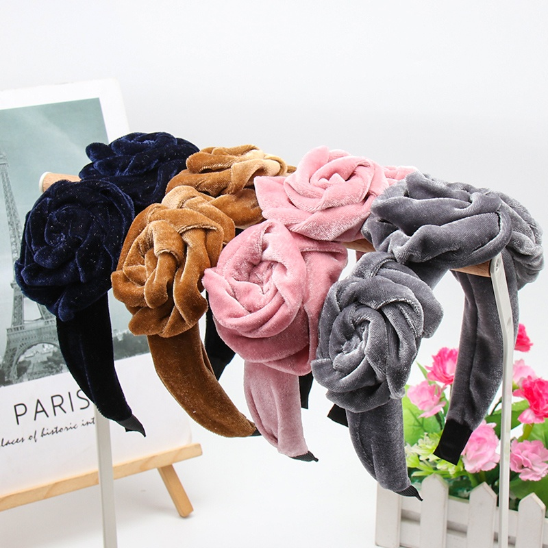 Xugar Three Rose Flowers Velvet Headband For Women Solid Color Novelty Hairband Fashion Elegant Hair Accessories Hair Band