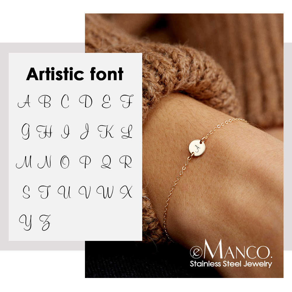 EManco แกะสลักที่กำหนดเองส่วนบุคคล Letter สร้อยข้อมือสำหรับสตรี 316L สแตนเลสผู้หญิงสร้อยข้อมือเครื่องประดับ