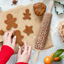2019 Christmas Embossing Rolling Pin Baking Cookies Noodle Biscuit Fondant Cake Dough Engraved Roller Dropshipping