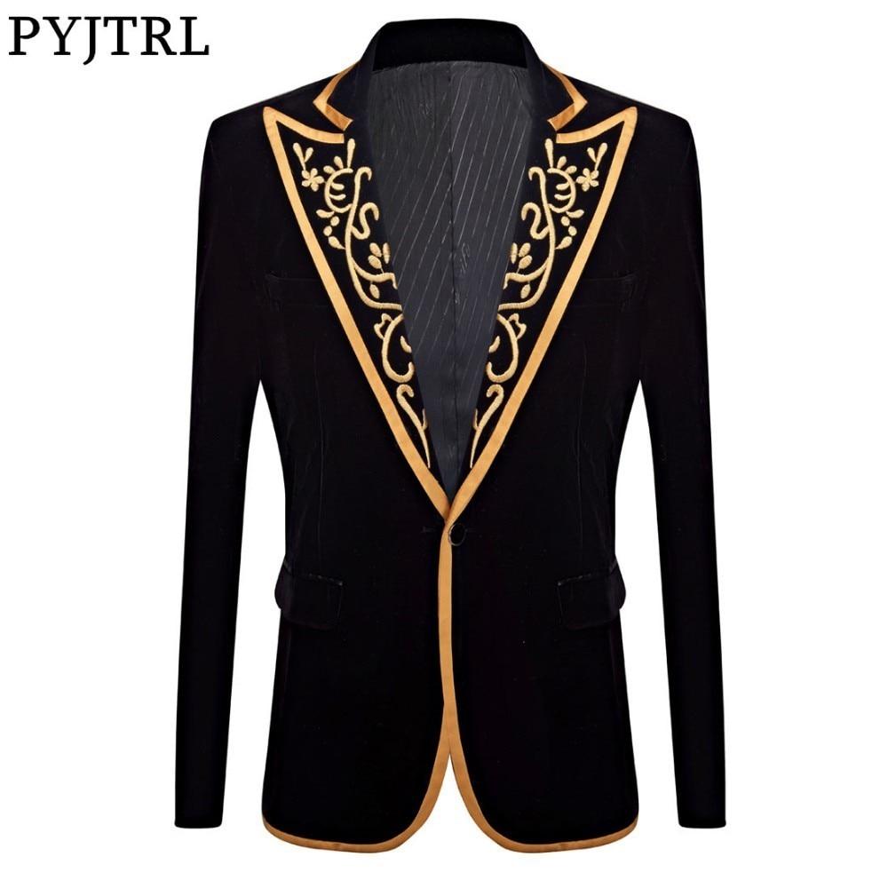 PYJTRL Velvet Embroidery Series Mens Royal Court Prince Velvet Gold Embroidery Blazer Wedding Groom Suit Jacket Singer Costume