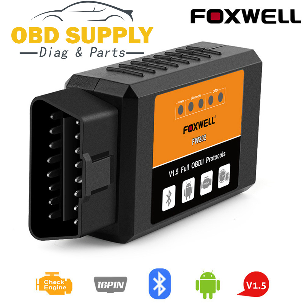 FOXWELL FW202 OBD2 ELM327 Bluetooth V1.5 PIC18F25K80 ODB 2 kod samochodu czytnik OBDII ODB2 ODB II skaner ELM 327 V 1.5
