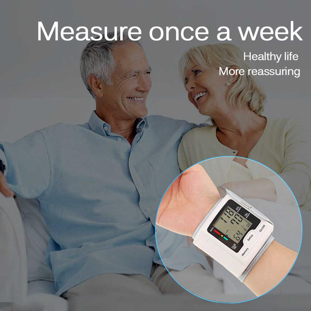 จอแสดงผล LCD ดิจิตอลทางการแพทย์ในครัวเรือนนาฬิกาข้อมือเครื่องวัดความดันโลหิตอัตโนมัติเครื่องวัดความดันโลหิตข้อมือ Sphygmomanometer