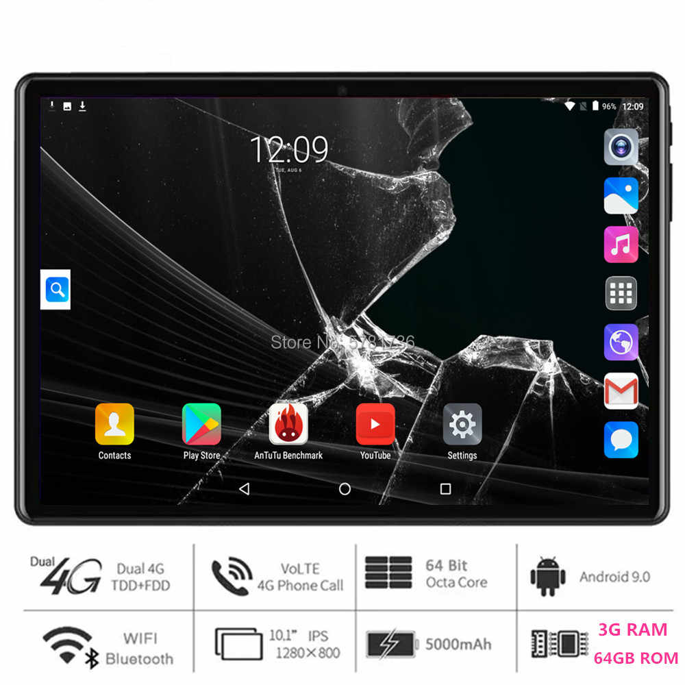 Super Snelle 5G Wifi Tablet Pc 10 Inch Octa Core 3 Gb Ram 64 Gb Rom 1280X800 hd Screen Dual 2.5D Glas 4G Lte Android 9.0 Os Pad