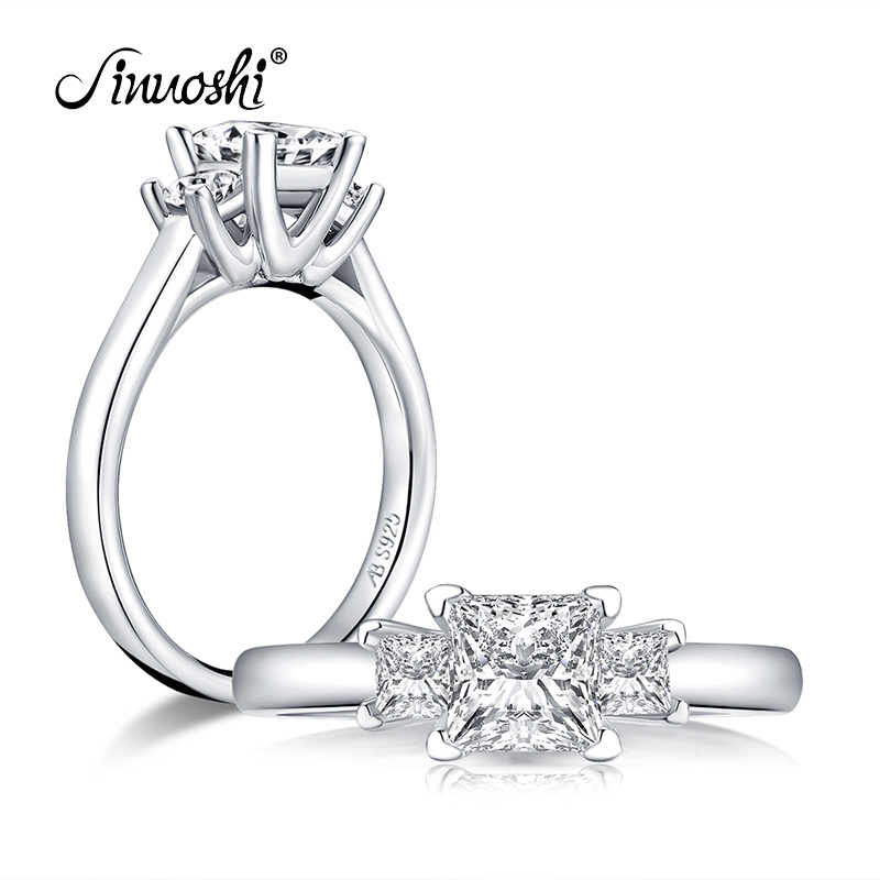Princess Cut 3-Stone Engagement 925 Sterling Silver Wedding Ring Simulated Diamond Engagement Wedding Band Ring Jewelry
