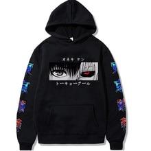 Harajuku unissex hoodies anime japonês tóquio ghoul kaneki ken olhos impressos moletom com capuz masculino streetwear camisolas casuais