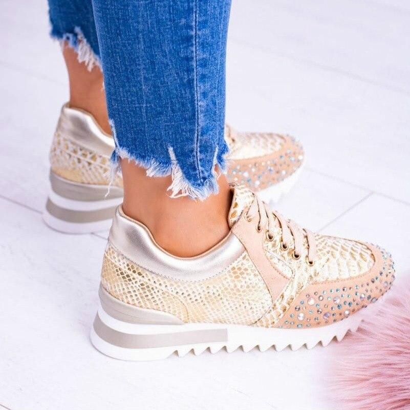 Women Vulcanized Shoes Fashion Beautiful Casual Shoes New Snake Skin Motif Shimmering Stones Design Sneakers Low Women's Heels