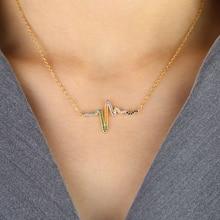 Rainbow cz paved Heartbeat Necklaces & Pendants Career Women High Polished Pendant Letter Love Necklace Friendship Jewelry татуировка переводная heartbeat
