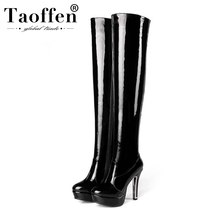 Coolcept Plus Size 34-48 Ladies Over The Knee Boots Pu Leather Platform Zipper High Heel Shoes Women Botas Sexy Women Footwear(China)