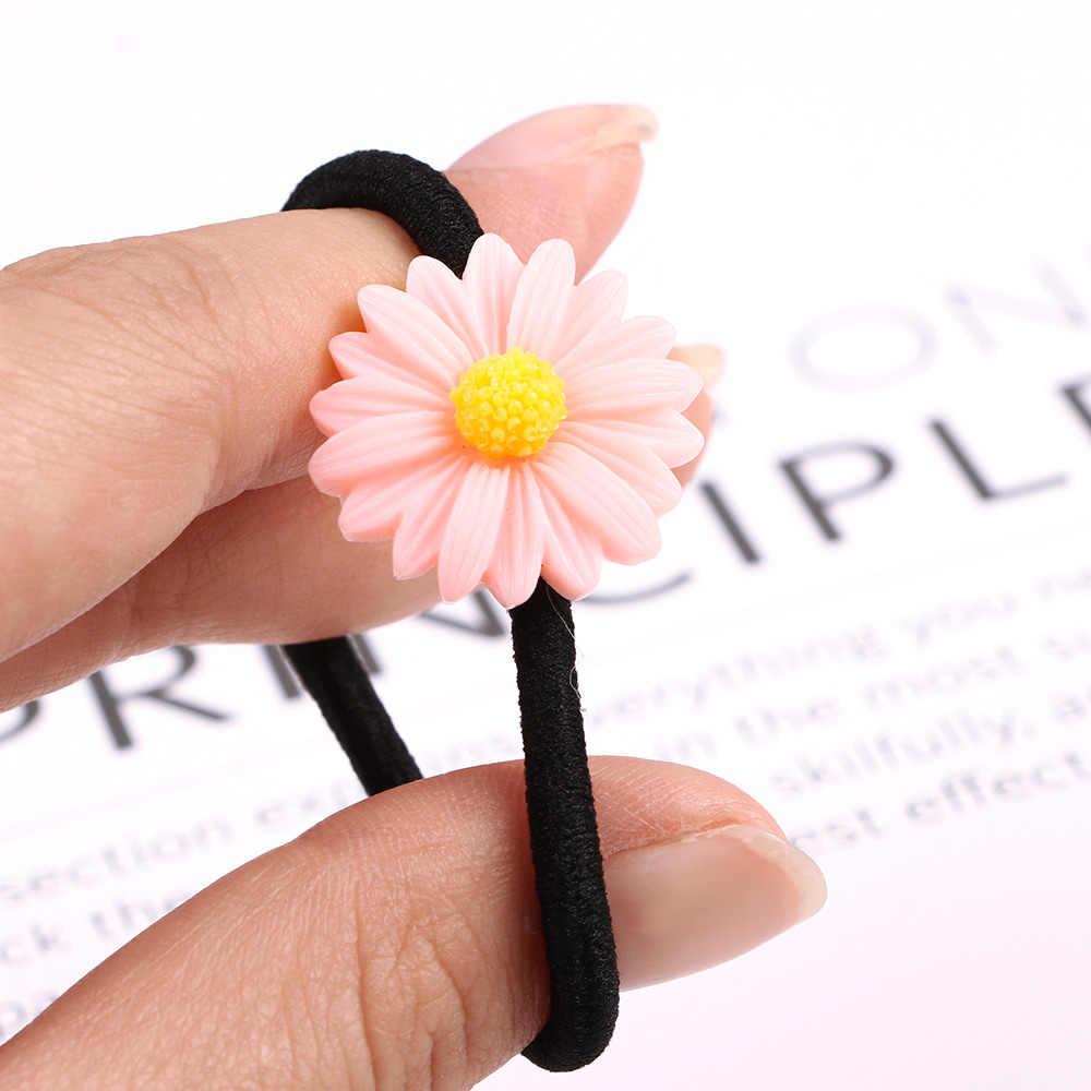 4 шт. милые девушки маленькая Маргаритка серии эластичные кожаные резинки для волос галстук головные уборы аксессуары для волос Горячая Распродажа