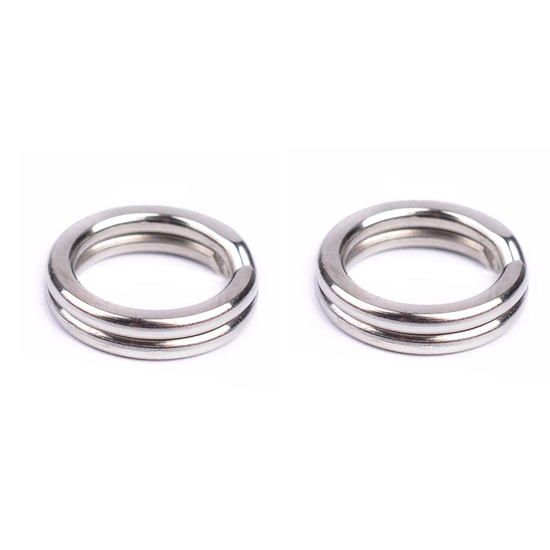 200Pcs Durable Double Loop Hot Split Ring Fishing Tackle Stainless Steel Hook Connector 7mm & 8Mm