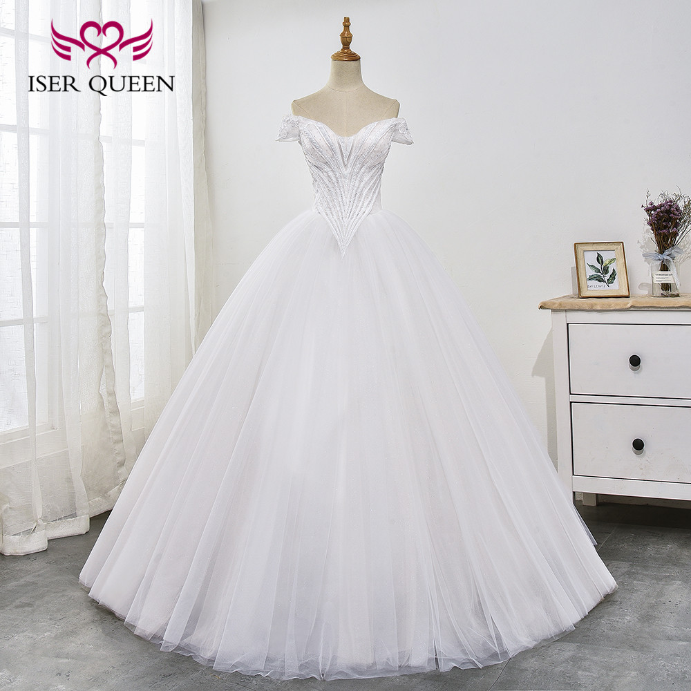 Cap Sleeves Embroidery And Beading Pure White Wedding Dress Ball Gown Lace Up Sheer Vestido De Noiva Wx0029