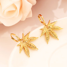 Africa gold color drop earring Women Party Gift Cannabiss Weed Marijuan Leaf charms girls wedding bridal charms(China)