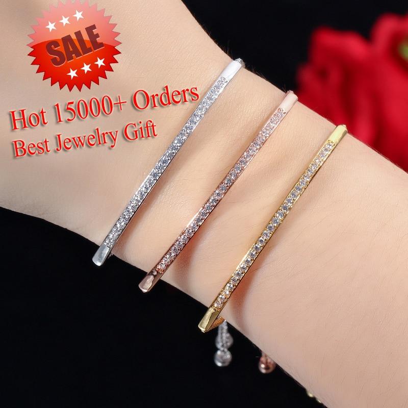 Cwwzirconi bracciale regolabile per donna accattivante Bar Slider brillante CZ colore oro rosa gioielli Pulseira Feminia CB089 2