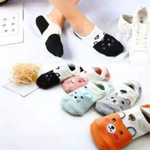 5 пар, летние хлопковые тонкие креативные повседневные женские носки с забавными животными Kawayi, милые носки-башмачки для девочек