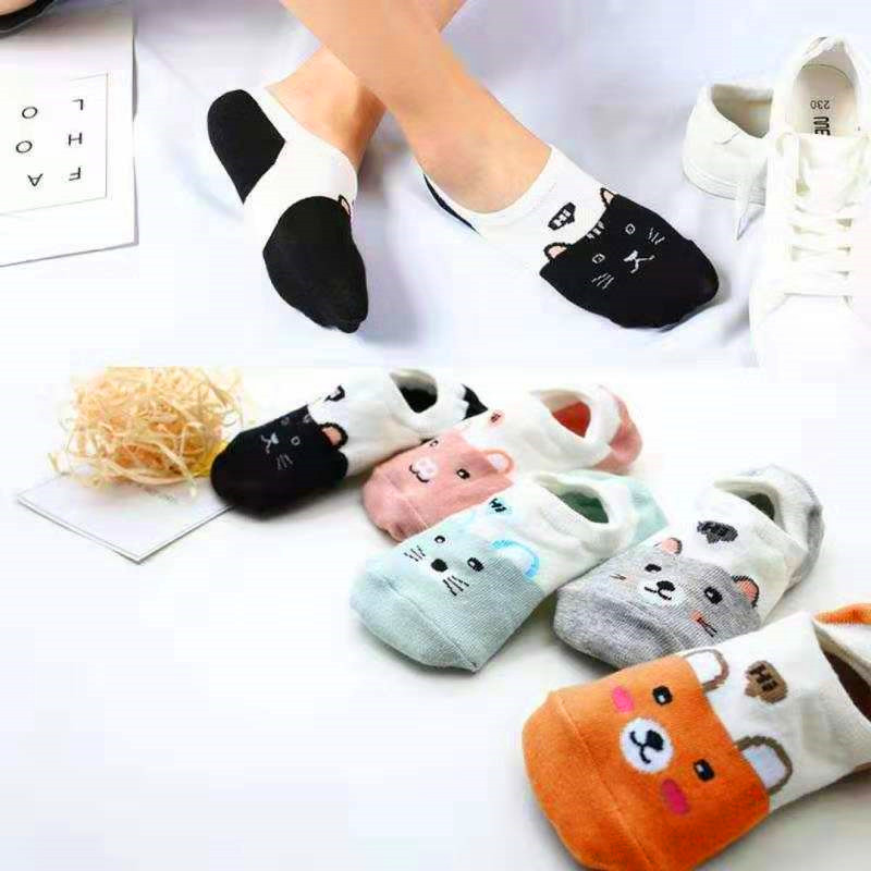 5 Pairs Summer Cartoon Cotton Thin Women Creative Casual Cotton Funny Animals Happy Sock For Female Cute Kawayi Girls Boat Socks