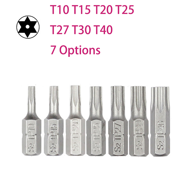 10pcs/lot 25mm Torx Screwdriver Bits With Hole T10 T15 T20 T25 T27 T30 T40 1/4 Inch Hex Shank Electric Screw Driver Star Bit Set