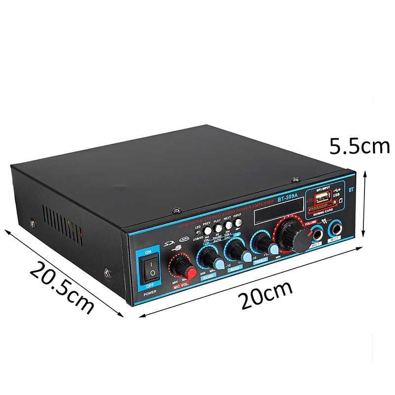 800W 12/220V HIFI 2CH Amplificatore di Potenza Audio Home Theater Sistema Audio Mini Amplificatore Audio Bluetooth FM USB SD Card per la Casa, auto