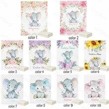LVYZIHO Baby Blanket Custom Name Chic Flower Elephant Baby Girl / Boy Blanket-30x40/48x60/60x80 Inches - Flannel Fleece Blanket