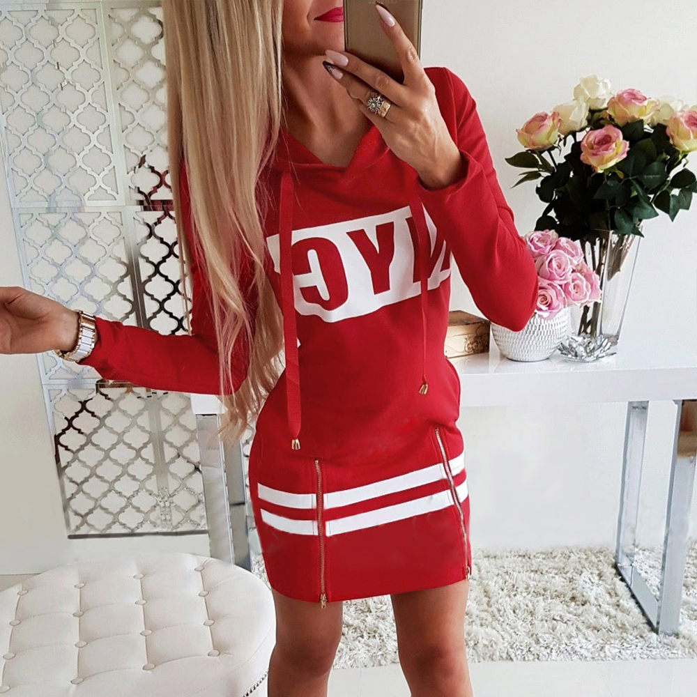 H67ecb7e52e62440aba3f5c0fe01b58b7o - Autumn Hoodies Dress Women Letter Print Hooded Dresses Lady Casual Zipper Drawstring Stripe Sweatshirt Dress ropa mujer D30