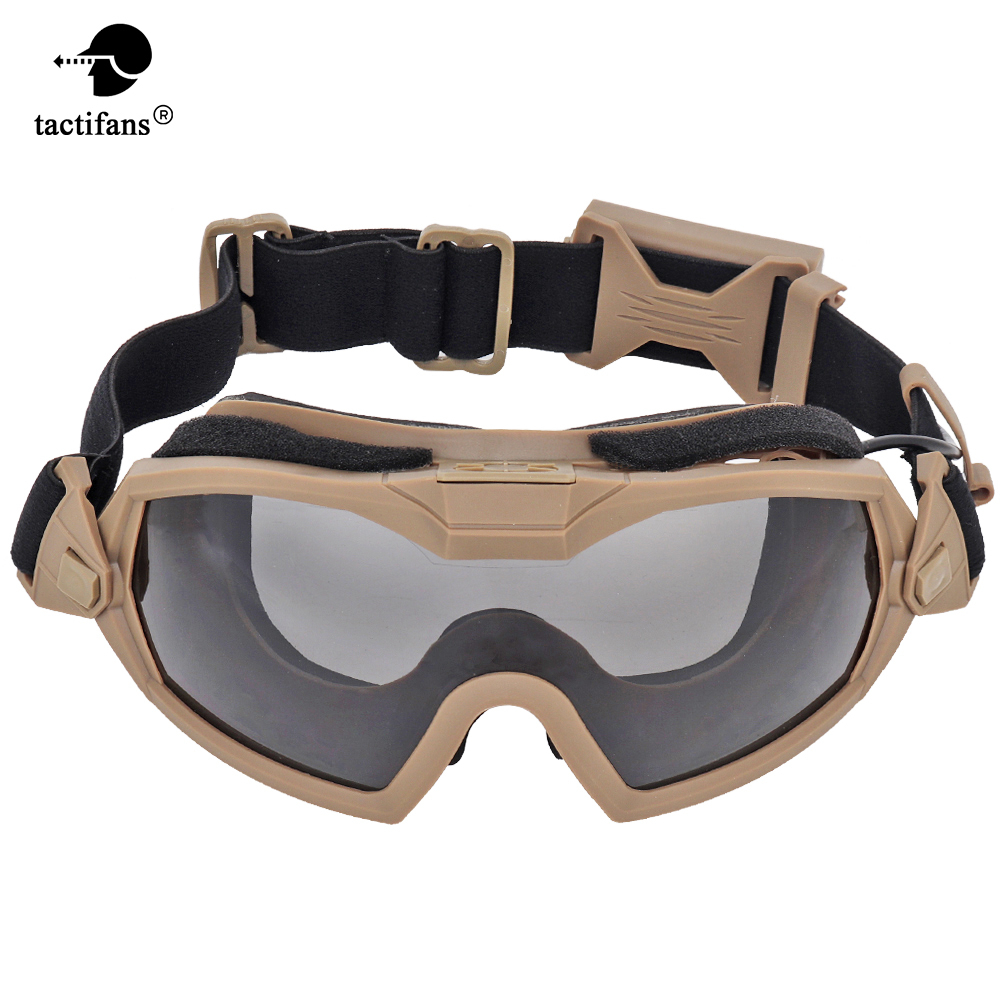 Tactical Goggle With Fan System High Impact Glasses Interchangeable Protective Lens Eyewears Cycling Paintball Airsoft Wargame