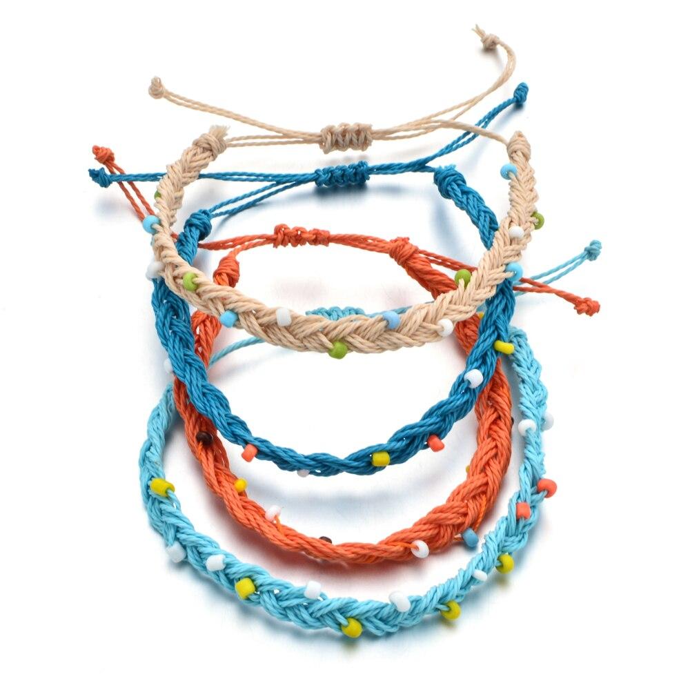 20pcs/lot Vintage Charm Bracelets Fashion Jewelry Bohemian Rope Braided Bracelet for Women Men Femme Woven Friendship Bracelet