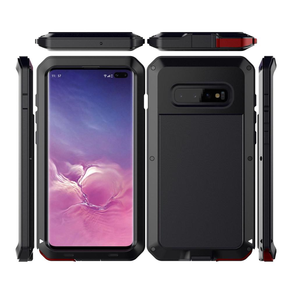 Heavy Duty Armor Protection Phone Case For Samsung Galaxy S10 S10 Plus Case Waterproof Metal Bumper Cover S10E Case Shockproof in Fitted Cases from Cellphones Telecommunications