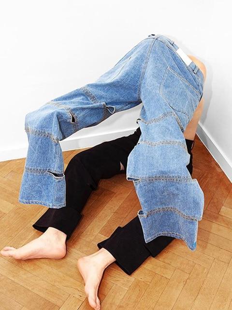 Женские повседневные свободные длинные джинсы с высокой талией