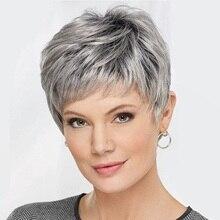 Парики для женщин, синтетический короткий парик с челкой, смешанные серые парики, термостойкие волосы из термостойкого волокна