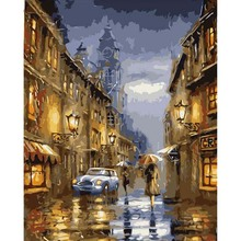 Frame DIY Canvas Paintings City Night Painting By Numbers Hand Painted Oil For Home Decoration
