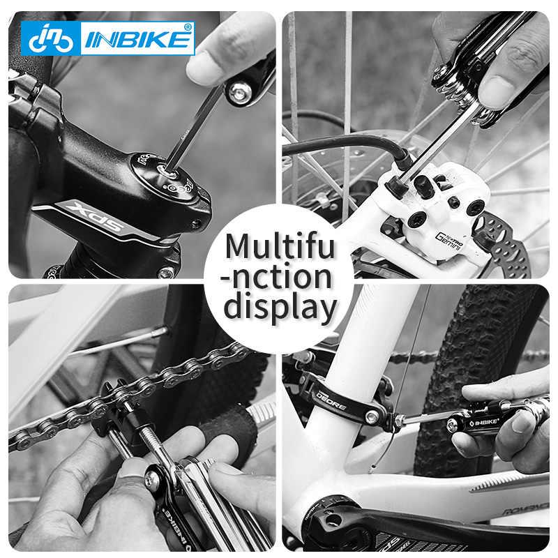 INBIKE bisiklet çok aracı bisiklet tamir araçları Hex konuştu anahtarı tornavida 10 In 1 kiti seti katlanır yol MTB bisiklet bisiklet araçları