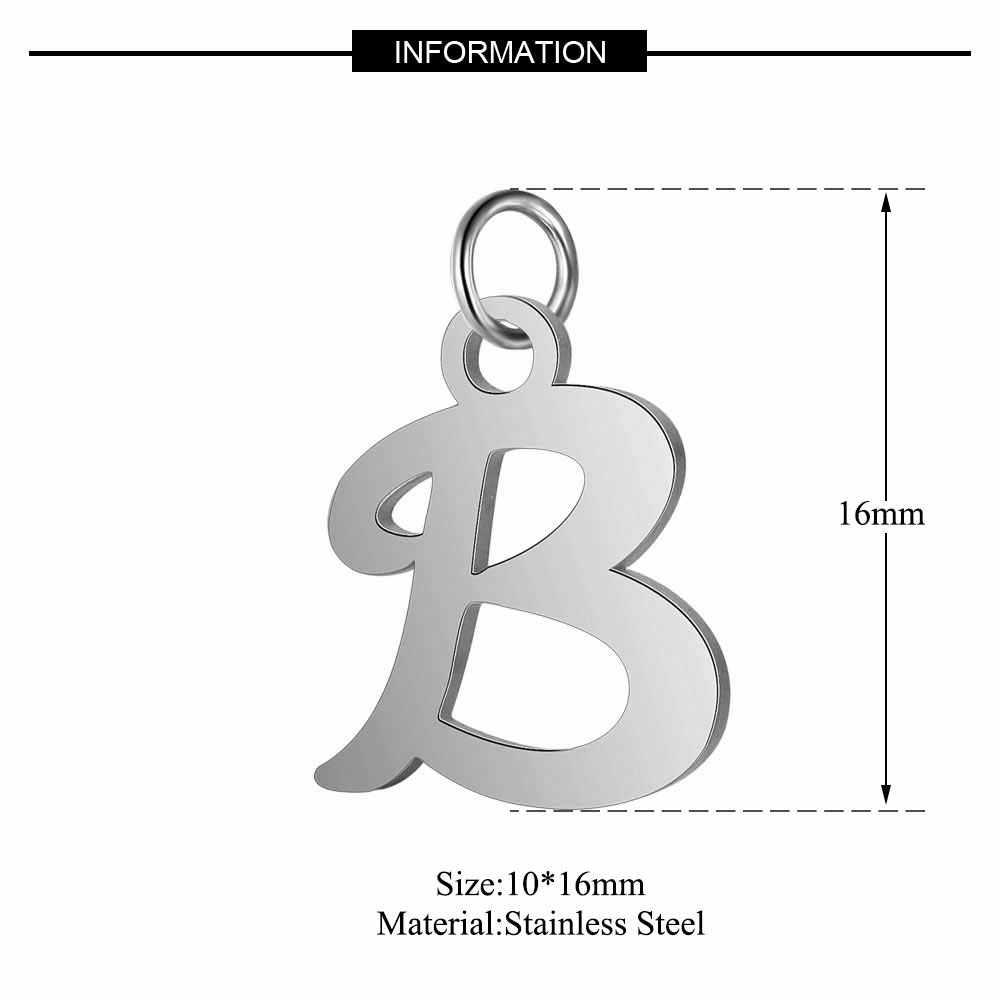 5 ピース/ロット 316L ステンレス鋼ハイポリッシュ鋼色アルファベットチャーム DIY A-Z からイニシャルアルファベットペンダントアクセサリー