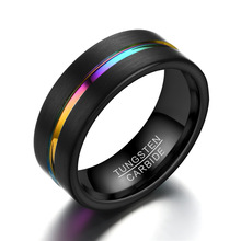 Black Tungsten Ring for Mens Women Jewelry Carbide 8MM Colorful Wedding Rings