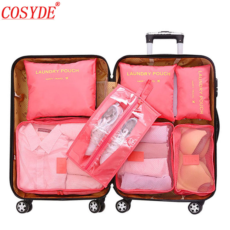 7pcs/set All For Travel Bags Organizer The Suitcases Storage Bag Polyester Travel Organizer Luggage Clothing Cubes Packing Bags