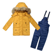 цена на Kids Winter Clothing Set Girl Boy Hooded Down Pocket Jacket Coat + Overalls Children Suit 3-7 Years Kid Baby Colorful Snow Wear