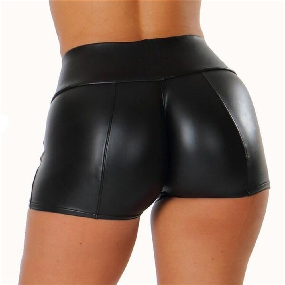 AMYO 2020 PU Leather Shorts Women Sexy Summer Black Short Pants Para Mujer Slim Casual Elastic Waist Shorts Plus Size S-3XL